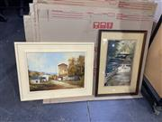 Sale 9087 - Lot 2096 - 3 Artworks incl Landscape, Country Town Scene & Children-Themed Work -