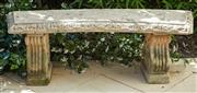 Sale 9081H - Lot 9 - A carved concrete garden bench, Height 43cm x Width 135cm x Depth 39cm