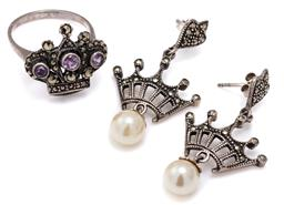 Sale 9115 - Lot 341 - SILVER MARCASITE SET CROWN RING AND EARRINGS; ring set with round cut amethysts and marcasites, size N1/2, top 19 x 19mm, articulate...