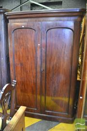 Sale 8402 - Lot 1065 - Victorian Mahogany Wardrobe, with two arched panel doors, enclosing slides