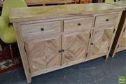 Sale 8545 - Lot 1026 - Oak Parquetry Top Sideboard (H 88 x L 140 x D 45cm)