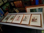 Sale 8627 - Lot 2031 - Set of (5 plates) C17th French Vogue, handcoloured offset lithographs, 54.5 x 43.5cm (frame sizes)