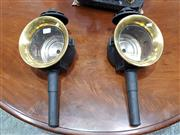 Sale 8714 - Lot 1064 - Pair of Victorian Carriage Lamps, with brass trims