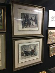Sale 8702 - Lot 2076 - Pair of hand coloured engravings Waterloo Port & Hearts are Trump 80 x 90cm (frame size; Charles Hewitt Framing)