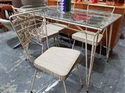 Sale 8777 - Lot 1014 - Vintage Metal Five Piece Outdoor Suite incl. Glass Top Table & Four Chairs