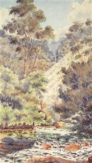 Sale 9021 - Lot 580 - Archibald Fenton Spencer (1860 - 1933) - Coxs River Rapids, 1899 32.5 x 19 cm (frame: 52 x 38 x 2 cm)