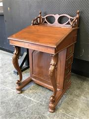 Sale 9048 - Lot 1028 - 19th Century Anglo-Indian Teak Davenport, with boldly pierced gallery, having a stationery & four further drawers to the right side,...