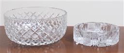 Sale 9140H - Lot 54 - A Bohemian cut glass dish/ashtray, Diameter 17cm, together with a glass salad bowl, Diameter 23cm