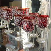 Sale 8306 - Lot 9 - Overlaid Ruby Glass Drink Wares