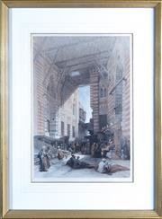Sale 8800 - Lot 22 - A David Roberts tinted lithograph Bazaar of the Silk Merchant, Cairo, bookplate,  Published London, by F.G Moon, 1848, 50 x 36cm