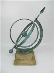 Sale 8402B - Lot 5 - Copper Armillary Sphere on Sandstone Base