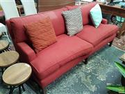 Sale 8601 - Lot 1502 - Red Fabric Three Seater Sofa