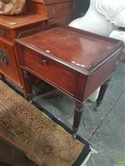 Sale 8634 - Lot 1014 - George IV Mahogany Side Table, with drop-front drawer, revealing an open slatted interior, raised on turned reeded legs with finely...