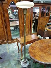Sale 8653 - Lot 1067 - Art Deco Brass Floor Lamp, with cream glass shade with spiral design, the turned shaft with applied leaves to base