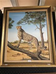 Sale 8674 - Lot 2046 - Alan James - The Cheetah oil on canvas on board, 50 x 39.5cm, signed lower right