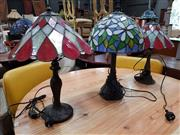 Sale 8680 - Lot 1088 - Pair of Leadlight Shade Table Lamps & Another (3)