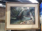 Sale 8816 - Lot 2013 - Helen Cameron - Bush Scene and Two Figures, pastel on paper, 50 x 62cm (frame), signed lower left