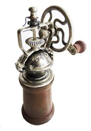 Sale 8828B - Lot 8 - A vintage French chrome metal and timber base pepper grinder. Height 20 cm