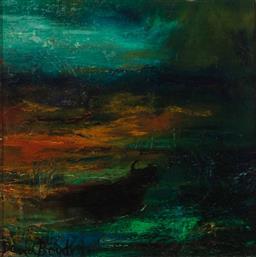 Sale 8938 - Lot 544 - David Boyd (1924 - 2011) - Untitled (Spanish Series - Bull in Landscape) 24 x 24 cm