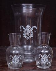 Sale 8891H - Lot 25 - A storm lantern with white motif in the French taste together with two water carafes, Height of storm lantern 30cm