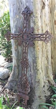 Sale 9015G - Lot 73 - Cast Iron Crucifix/Cross. General Wear, Surface Rust, Size 129cm H X 37cm W