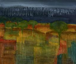 Sale 9174JM - Lot 5057 - JODY ROSEN Storm on the Plains oil on canvas 102 x 123 cm signed and titled verso