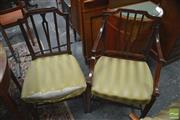 Sale 8317 - Lot 1064 - An Assembled Set of 8 Victorian Hepplewhite-Style Mahogany Dining Chairs incl two armchairs with slatted backs & green upholstered s...
