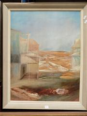 Sale 8349A - Lot 26 - Sidney Nolan (1917 - 1992) - Deserted Township, Dawn 73 x 56cm