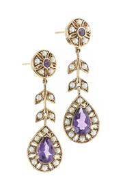 Sale 8482 - Lot 332 - A PAIR OF 9CT GOLD EDWARDIAN STYLE GEMSET EARRINGS; target and pear shape clusters set with amethysts and seed pearls, length 40mm,...