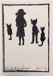 Sale 8657E - Lot 5040 - Charles Blackman (1928 - 2018) - Schoolgirl with Three Cats, 2013 30 x 21cm