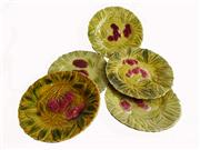 Sale 8828B - Lot 9 - A set of 5 early C20th French Sarreguemines majolica cherry decorated plates. 19 cm