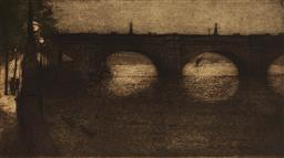 Sale 9099A - Lot 5058 - Jan Poortenaar (1886 - 1958) - Waterloo Bridge at Night, 1919 29.5 x 54.5 cm (frame: 59 x 84 x 2 cm)