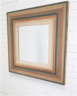 Sale 9146 - Lot 1079 - Rustic multi framed mirror (h:107 x w:106cm)
