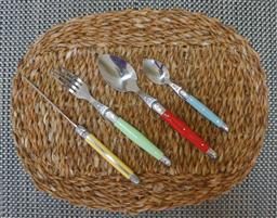 Sale 9240L - Lot 11 - 24-Piece Cutlery Set - Multicolour (straight handles) - Laguiole Lineaire by Louis Thiers