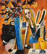Sale 8657E - Lot 5039 - Charles Blackman (1928 - 2018) - Alice in Wonderland 122 x 106cm (frame: 124 x 108cm)