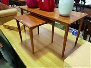 Sale 8661 - Lot 1090 - Teak Coffee Table & Side Table (2)