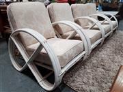 Sale 8782 - Lot 1046 - Set of 4 Vintage Painted Pretzel Cane Armchairs