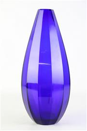Sale 8890 - Lot 5 - Blue Peking Glass Faceted Vase (H37cm)