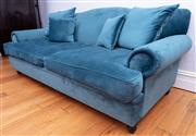 Sale 8891H - Lot 39 - A teal velvet three seater camel back lounge with four matching scatter cushions ex Michael Design. Height 87cm, Width 220cm x Dept...