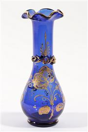 Sale 9003G - Lot 630 - Good Vintage Bohemian Cobalt Blue and Gilt Vase in the Moser style (H21.5cm, small chip to gilt decoration)