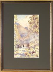 Sale 9045 - Lot 2034 - Archibald Fenton Spencer (1860 - 1933) - Travellers, Megalong Valley, Katoomba, 1900 32 x 19 cm (frame: 55 x 42 x 2 cm)