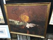 Sale 9041 - Lot 2065 - Ron Stannard, Sun rise over the red earth, oil on board, 68 x 84cm (frame), signed