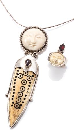 Sale 9149 - Lot 370 - A SHANO JEWELRY MAN IN THE MOON IVORY AND STONE SET PENDANT COLLAR AND RING; carved mammoth ivory moonfaces, ring topped with a pear...