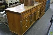 Sale 8390 - Lot 1056 - Victorian Pine Welsh Dresser, with central door flanked by seven drawers