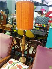 Sale 8648 - Lot 1032 - Mixed Media Lamp with Embroidered Orange Shade