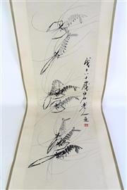 Sale 8935D - Lot 687 - Chinese scroll featuring prawns, L131cm