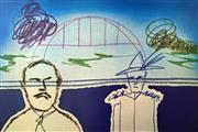 Sale 8996A - Lot 5013 - Sidney Nolan (1917 - 1992) - Man,Trouper & Sydney Harbour Bridge 64 x 90 cm
