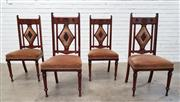 Sale 9085 - Lot 1044 - Unusual Set of Four Edwardian Walnut Chairs, with diamond panel backs, carved & padded, with pink velvet seats & turned legs (h:105...
