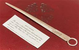 Sale 9098H - Lot 22 - A hallmarked sterling silver letter opener/ meat skewer by Cooper Brothers, Length 20cm