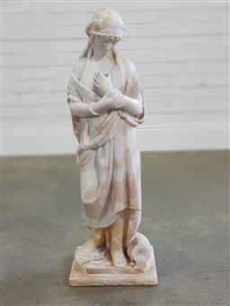 Sale 9196 - Lot 1004 - Carved Alabaster Figure of a Young Peasant Woman, in a pensive pose, wearing a loosely draped cloak & headdress with coins, a water...